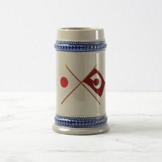 Japan and Kumamoto Crossed Flags Beer Stein