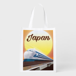 Japan Bullet Train travel poster Reusable Grocery Bag