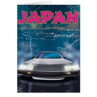 Japan car travel poster card