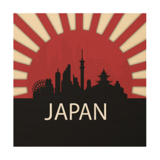 Japan Cool Silhouette Illustration Wood Prints