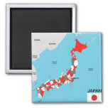 japan country political map flag refrigerator magnet