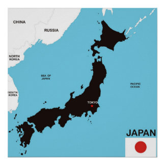 japan country political map flag print
