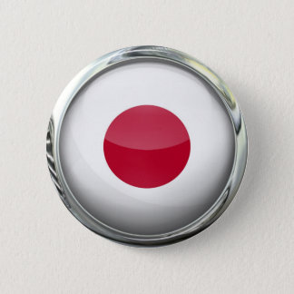 Japan Flag Glass Ball 2 Inch Round Button