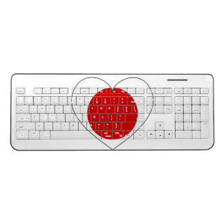 Japan Flag Heart Wireless Keyboard