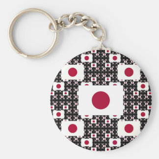Japan Flag in Layers Black BG Keychain