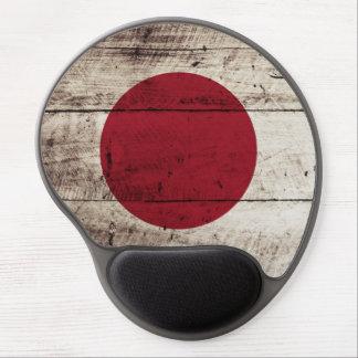Japan Flag on Old Wood Grain Gel Mouse Pad