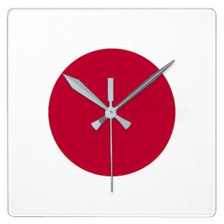 Japan Flag Square Wall Clock