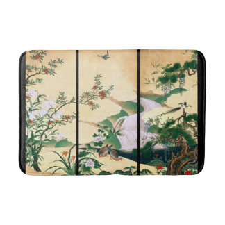 Japan Floral Screen Birds Animals Bath Mat