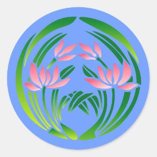 Japan flower sample more flower pattern round sticker
