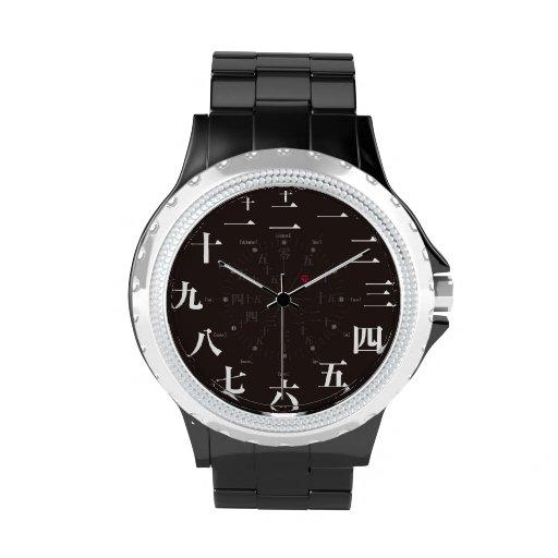 Japan kanji style [black face] watch
