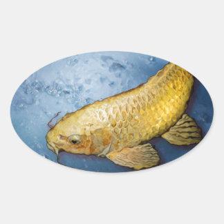 Japan koi fish oval sticker