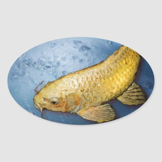 Japan koi fish oval sticker