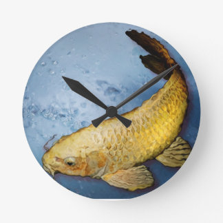 Japan koi fish round clock