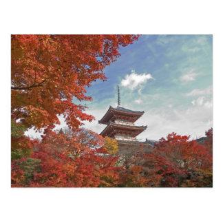 Japan, Kyoto, Pagoda in Autumn colour Postcard