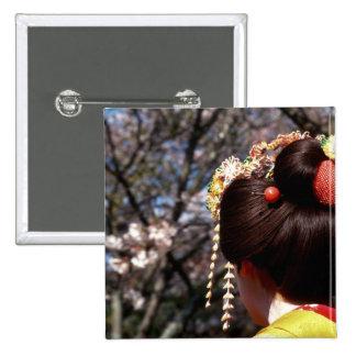 Japan Kyoto Rear view close-up of geisha s Button