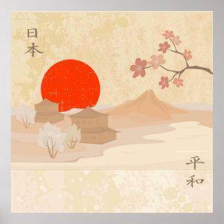 Japan landscape illustration poster