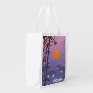 Japan landscape setting sun reusable grocery bag