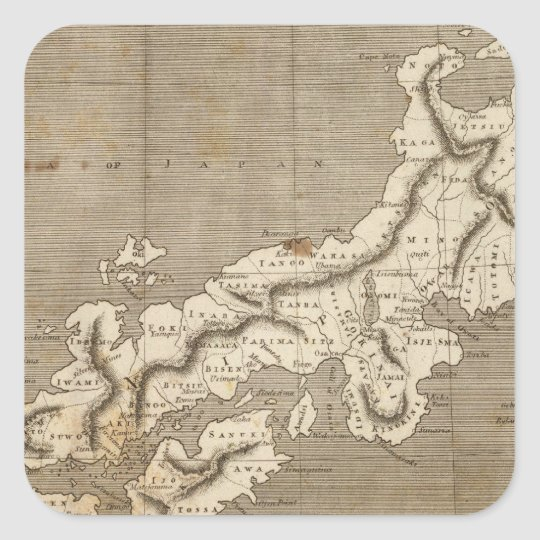 Japan Map by Arrowsmith Square Sticker
