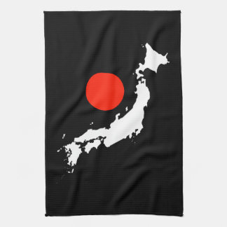 Japan map outline and red circle from flag kitchen towel