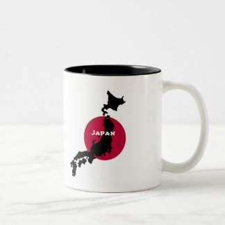 Japan - Map Silhouette and Flag Two-Tone Coffee Mug