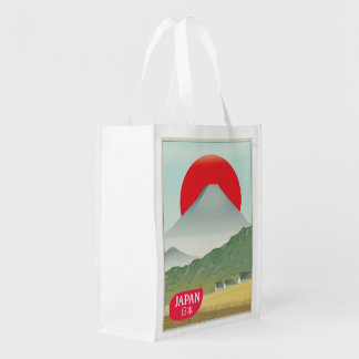 Japan mountain vintage travel poster reusable grocery bag