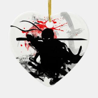 Japan Ninja Ceramic Heart Ornament
