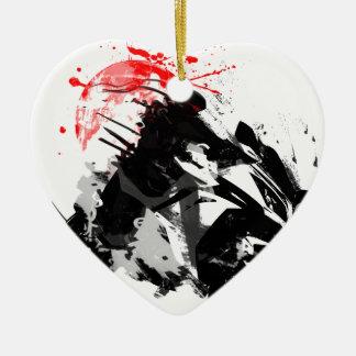 Japan Ninja Motorcycle Ceramic Heart Ornament