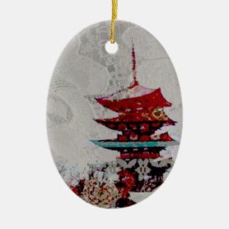 Japan Pagoda Lace Series Ceramic Oval Ornament