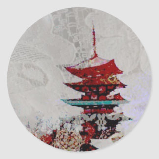 Japan Pagoda Lace Series Classic Round Sticker