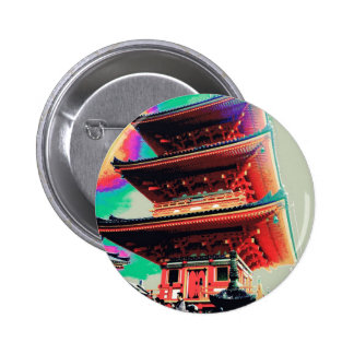 Japan Pagoda Psychedelic  Series 2 Inch Round Button