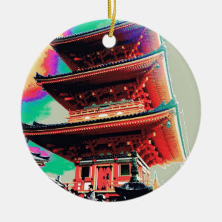 Japan Pagoda Psychedelic  Series Round Ceramic Ornament