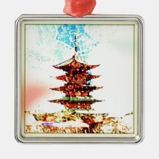 Japan Pagoda Temple Series Silver-Colored Square Ornament