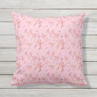 Japan. Pink Cherry Blossom Floral Flowers. Throw Pillow