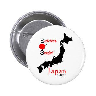 Japan relief tsunami earthquake Sendai 2 Inch Round Button