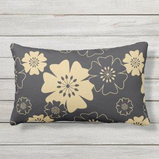 Japan. Reversible Yellow Floral Flowers. Lumbar Pillow