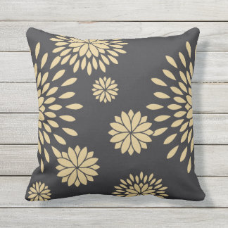 Japan. Reversible Yellow Floral Flowers. Outdoor Pillow