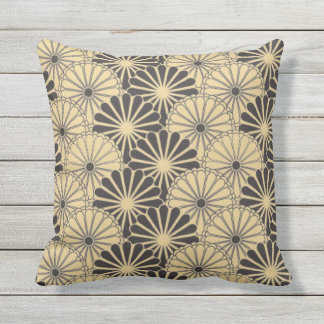 Japan. Reversible Yellow Floral Flowers. Throw Pillow