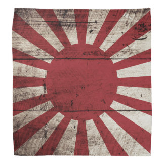 Japan Rising Sun Flag on Old Wood Grain Kerchief