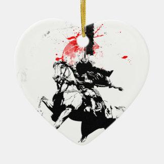 Japan Samurai Ceramic Heart Ornament