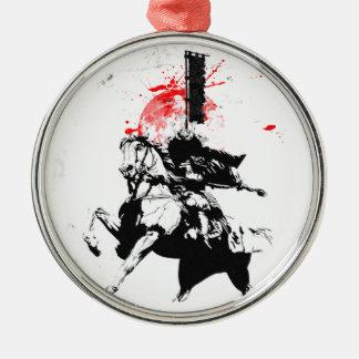 Japan Samurai Silver-Colored Round Ornament