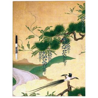 Japan Screen Bird Wisteria Flowers Dry Erase Board
