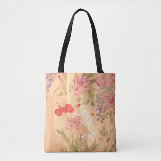 Japan Scroll Art Wisteria Roses Flowers Floral Bag