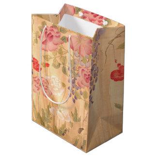 Japan Scroll Rose Wisteria Flowers Floral Gift Bag
