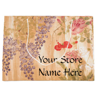 Japan Scroll Rose Wisteria Flowers Floral Store Large Gift Bag