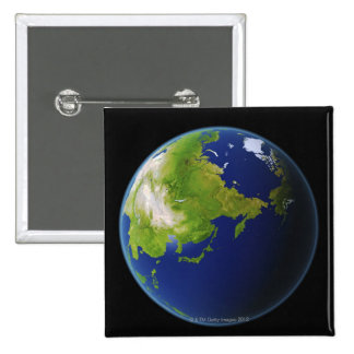 Japan Seen from Space 2 Inch Square Button