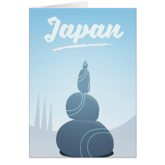 Japan Standing Stones Stacked in the landscape. Card
