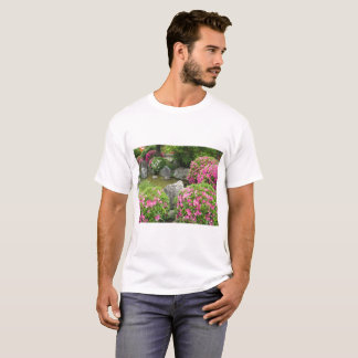 Japan stone garden with pink rhododendron flowers T-Shirt