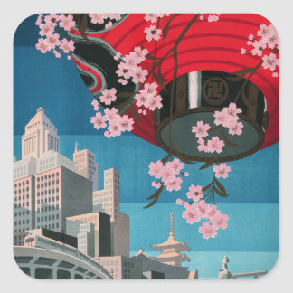 Japan Tokyo Vintage Japanese Travel Poster Square Sticker