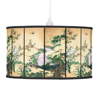 Japan Wisteria Flower Waterfall Dove Birds Lamp