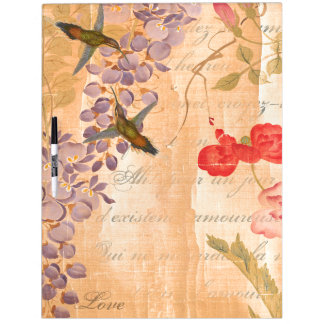 Japan Wisteria Rose Flower Floral Hummingbirds Dry Erase White Board